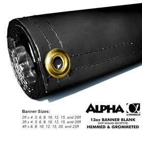 2ftx6ft 13oz Black Banner - Alpha