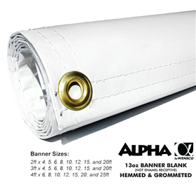 2ftx4ft 13oz White Banner - Alpha