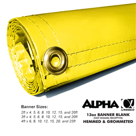 2ftx15ft 13oz Yellow Banner - Alpha