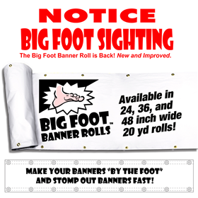 36inx20yd 13oz White Big Foot Banner