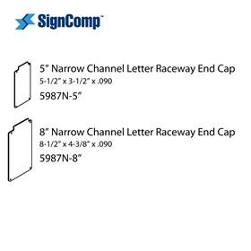 5in Narrow Channel Letter RW End Cap