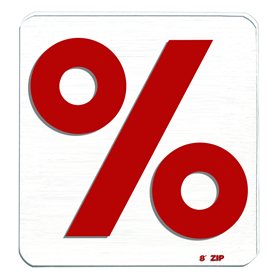 Percent Sign Red 8in Zip Change