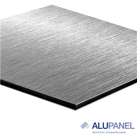 Alupanel 4x8x3mm Brushed Silver - 1side